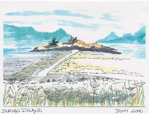 Indian Island watercolor by Debi Madan, Orcas Island WA