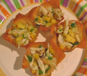 Crab salad in Wonton Cups
