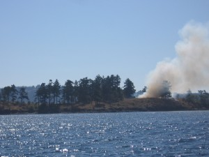 Controlled burn on Yellow Island in the San Juan Islands, WA
