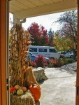 Autumn view from entry to T Williams Realty on Orcas Island