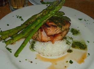 Salmon dinner at Orcas Hotel, Orcas Island WA