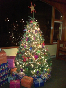 Christmas Tree at Moran Mansion decorated by kids at the Funhouse on Orcas Island