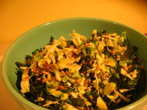 Brussel sprout salad by Teri Williams on Orcas Island