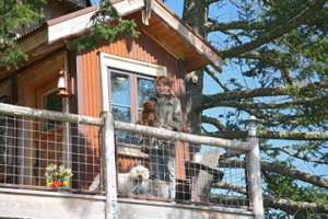 Susan Scott at her treehouse on Orcas Island