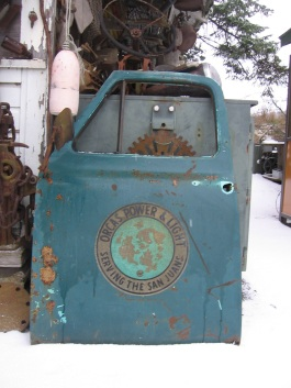 Old OPALCO truck door on Orcas Island