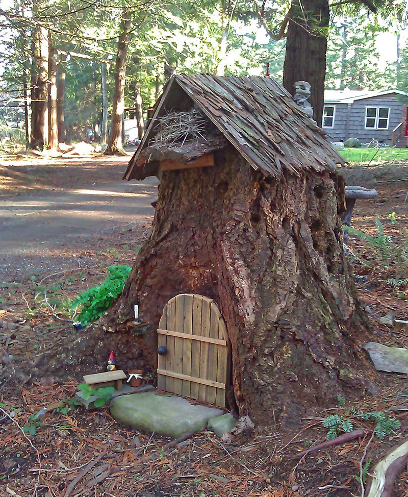 Tap into your inner child build a fairy house simply orcas for Tall tree stump ideas