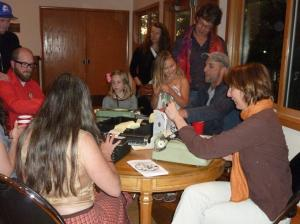 Writers composing poetry at the Orcas Center Edge art show 2012