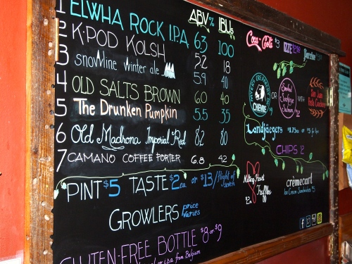 Beer selection currently on tap is listed on the board. I'll take a #1, thanks!