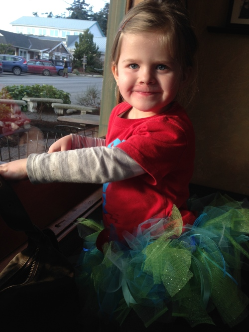 Ada Sandwith, wearing her new, Teri-Williams-made Seahawks tutu!