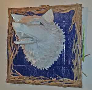 Recycled Art - white wolf by Alise Antonio