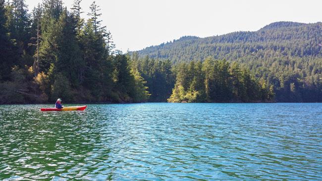 Kayaking Mountain Lake on Orcas Island