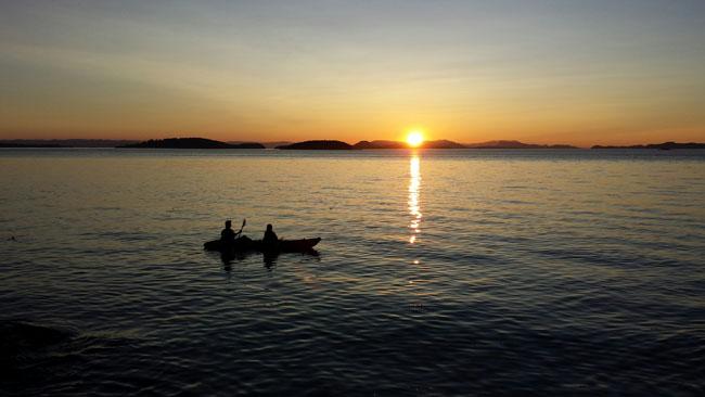 Sunset kayak on President Channel