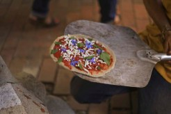 Borage flower, mint and sorrel pizza.