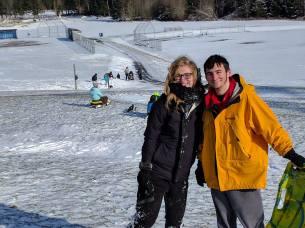 My son Jordan and his girlfriend sledding at Buck Park.