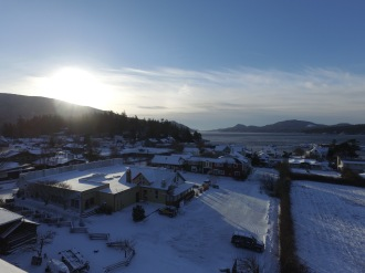 Sunrise over a snow covered Eastsound.