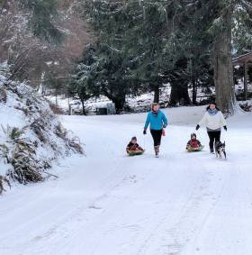 Mandy have a sled race with son Johnny and friends.