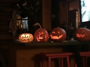 We carved pumpkins after the kid went to bed :)